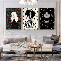 Toile dart Vintage abstraite pour filles et femmes  peinture sur toile  affiche nordique de mode  images murales pour salon  decor de maison
