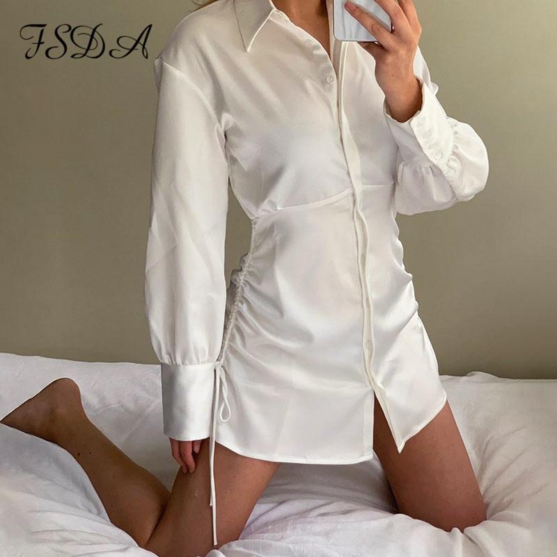 FSDA V Neck White Shirt Dress Women Long Sleeve Autumn Bandage Lace Up Sexy Party 2020 Casual Dresses Mini Bodycon