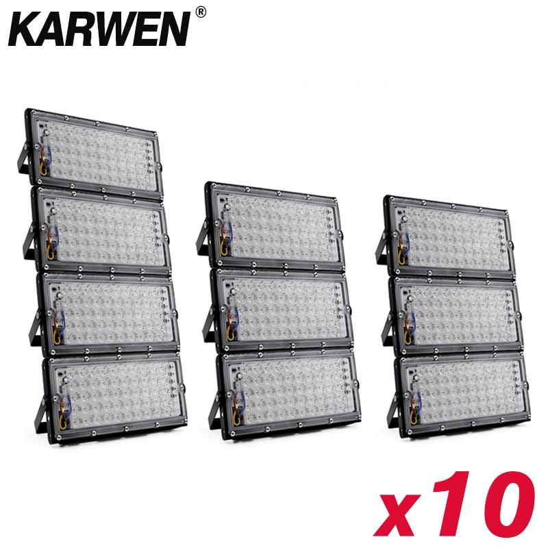 LED كشاف ضوء 50 واط 220 فولت 240 فولت الكاشف رقاقة IP65 مقاوم للماء في الهواء الطلق الجدار عاكس الإضاءة حديقة ساحة الأضواء الباردة الأبيض