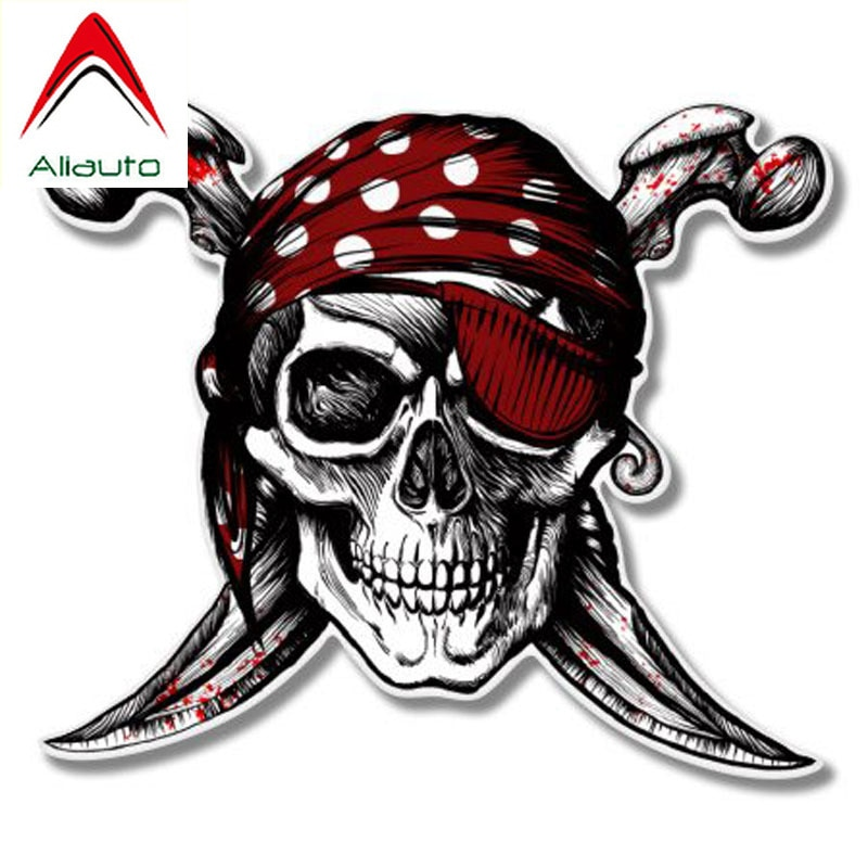 Aliauto terror carro adesivos crânio pirata jolly roger acessórios decalques de vinil para ford focus 2 passat b6 kia rio, 13cm * 11cm