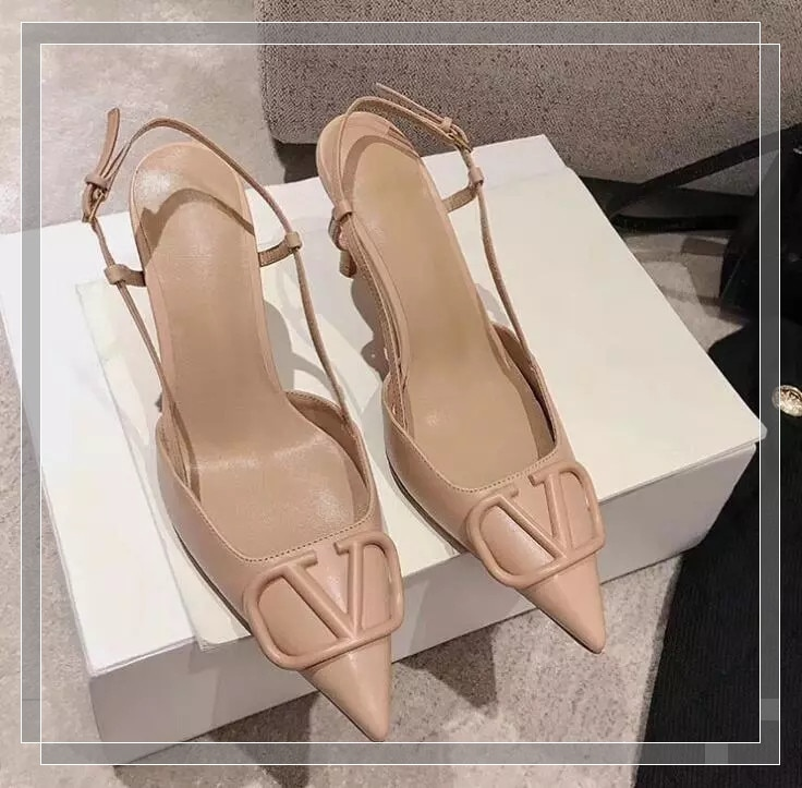 Luxury V Brand Women Pointed Sandal 6cm 8cm 10cm Thin High Heel Metal V-button Genuine Leather Women's Wedding Shoes  (WITH BOX)