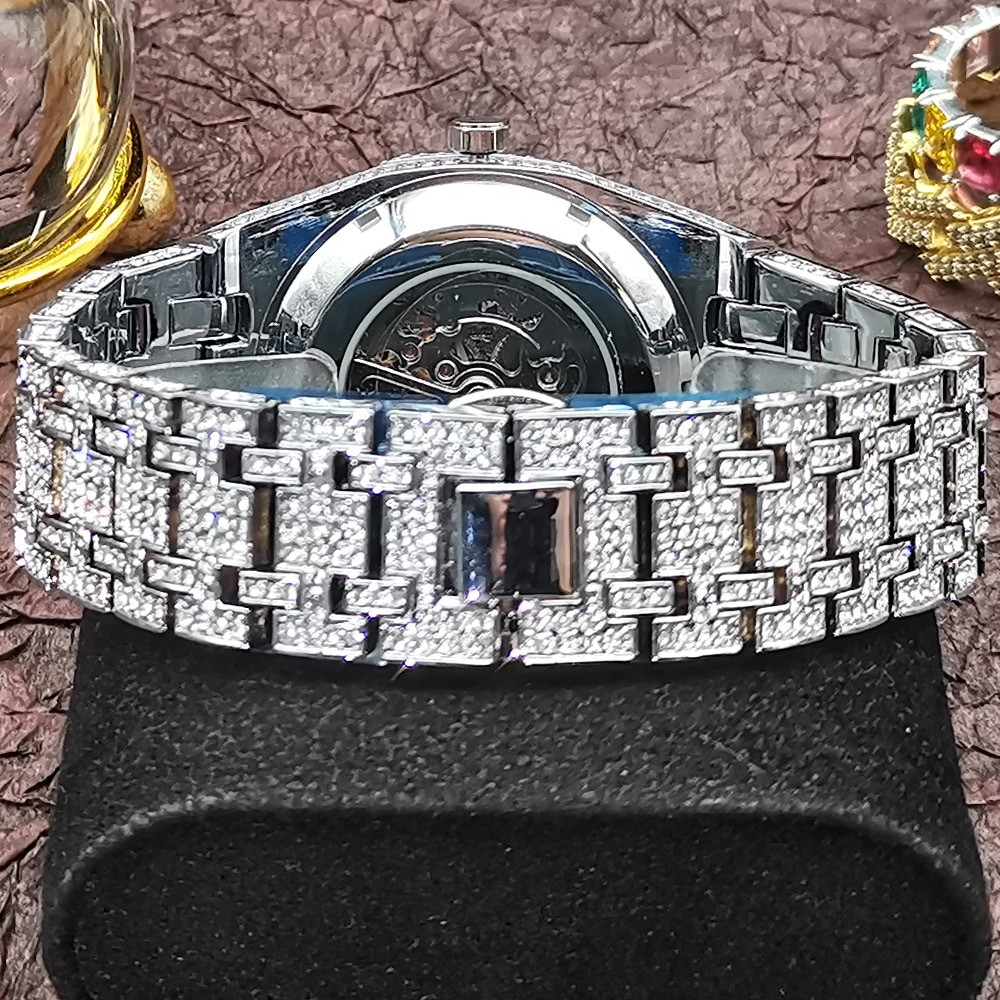 MISSFOX Full Stainless Steel Mechanical Watch Top Luxury Iced Out Diamond Silver Wristwatch Classic ROYAL OAK Automatic Clocks enlarge