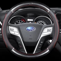 car carbon fiber leather steering wheel covers interior accessories 38cm for subaru brz forester xv impreza levorg car styling