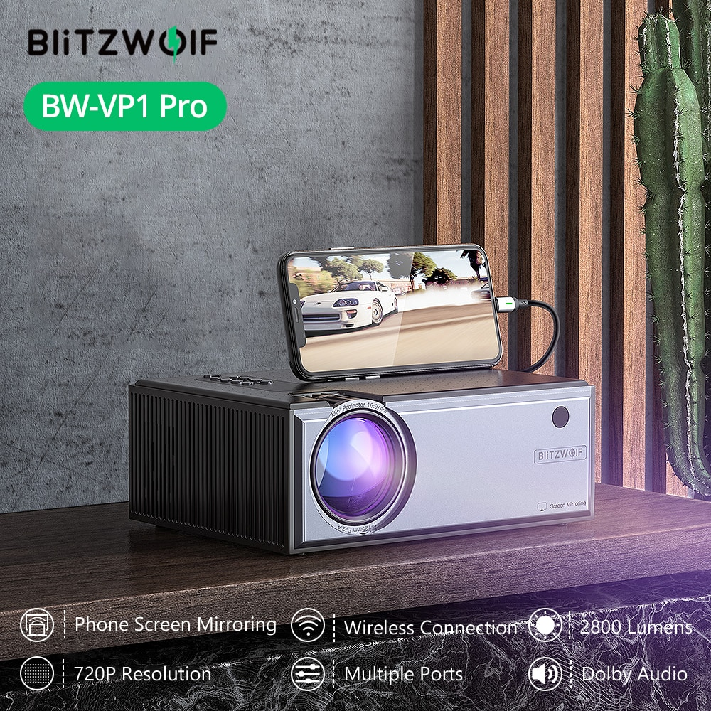 Blitzwolf BW-VP1-Pro LCD العارض 2800 لومينز الهاتف نفس شاشة 1080P المدخلات الصوت اللاسلكية الذكية المسرح المنزلي العارض الروبوت