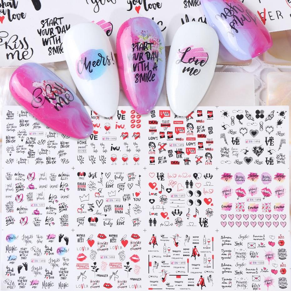 12pcs Nail Art Stickers Love Word Heart Letters Water Transfer Decals Set Slider Tattoo Foil Valentine Decorations TRBN1489-1500