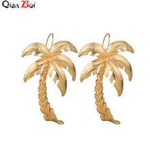 QianBei Beach Vacation Earrings Big  Women Earrings Coconut Palm Alloy Charm Earrings Coconut Tree Earrings Stylish