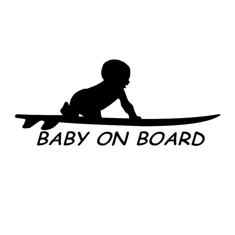 Auto Aufkleber Decor Motorrad Aufkleber Baby an Bord Surf Surfen Surfbrett Dekorative Zubehör Kreative PVC,15cm * 6cm
