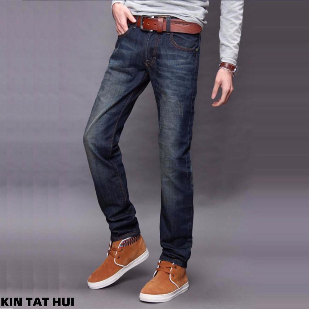 Новые осенне-зимние теплые джинсы, мужские классические деловые повседневные джинсы, мужские Модные Удобные однотонные тонкие прямые длин...
