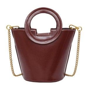 Retro Chain PU Leather Portable Small Bucket Bag Autumn and Winter New Style Ladies Messenger Bag Women Handbag Shoulder Bag