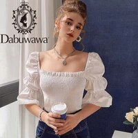 dabuwawa vintage women blouses shirt elegant ruffles pleated blouse shirt female casual spring autumn beach holiday do1ast010
