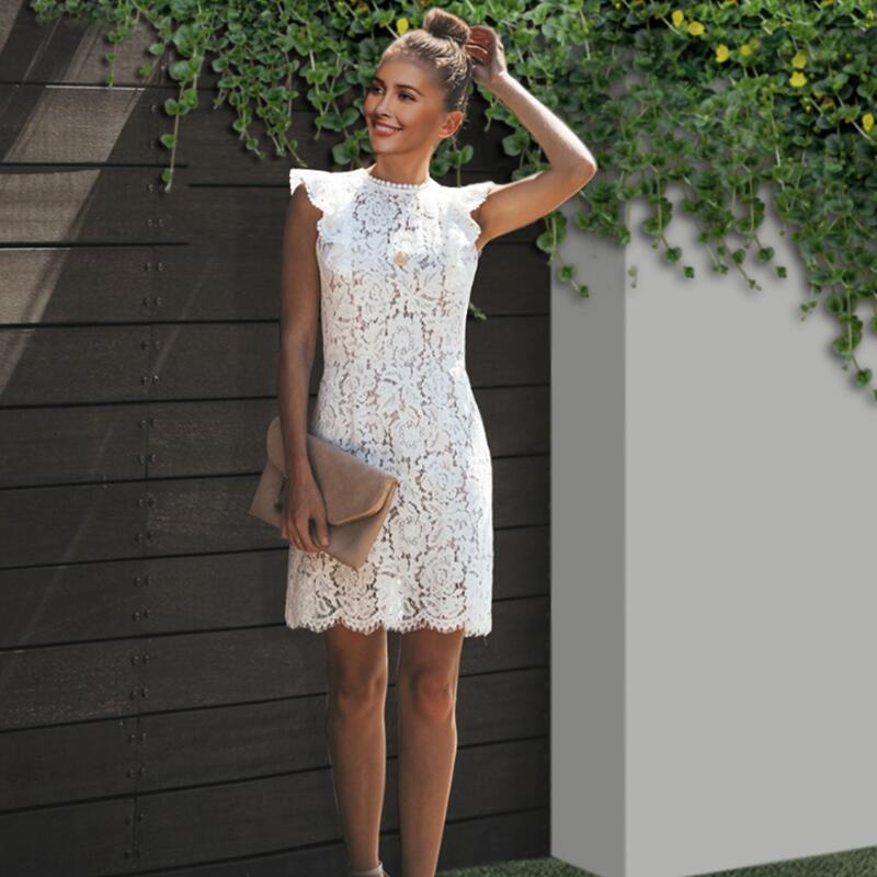 Vestido de encaje blanco verano mujer elegante ajustado Oficina corto volantes vestidos cortos de fiesta robe mujer blancos lápiz sukienki