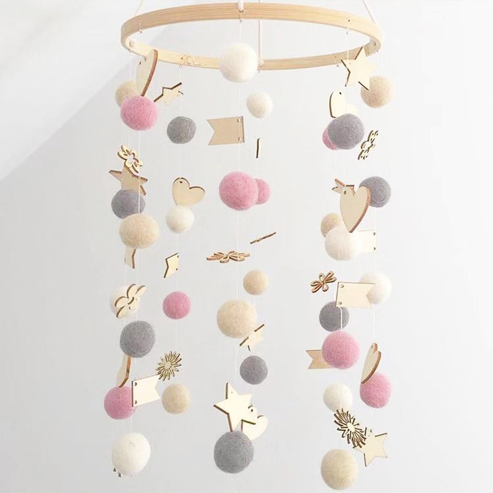 Juguetes de bebé DIY mamá sonajeros hechos a mano bolas coloridas cama campana giratoria cuna móviles brazo soporte chico caja de música juguetes para recién nacidos para bebé