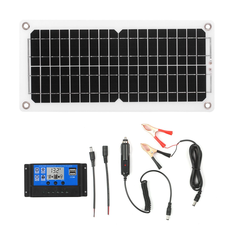 12 واط 12 فولت مجموعة اللوحة الشمسية مع جهاز التحكم في الشحن USB ميناء وحدة أحادية البلورية مع SAE كابل التوصيل أطقم لمعسكر