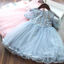 2020 Summer Flower Girl Lace Dress Children Girls Wedding Gown Princess Party Costume Kids Dresses for Girls Formal Clothing