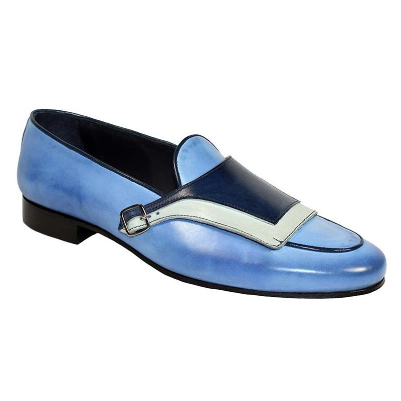 Men's PU Blue Stitching Buckle Decoration Low-heel Comfortable and Fashionable Everyday Business Cas