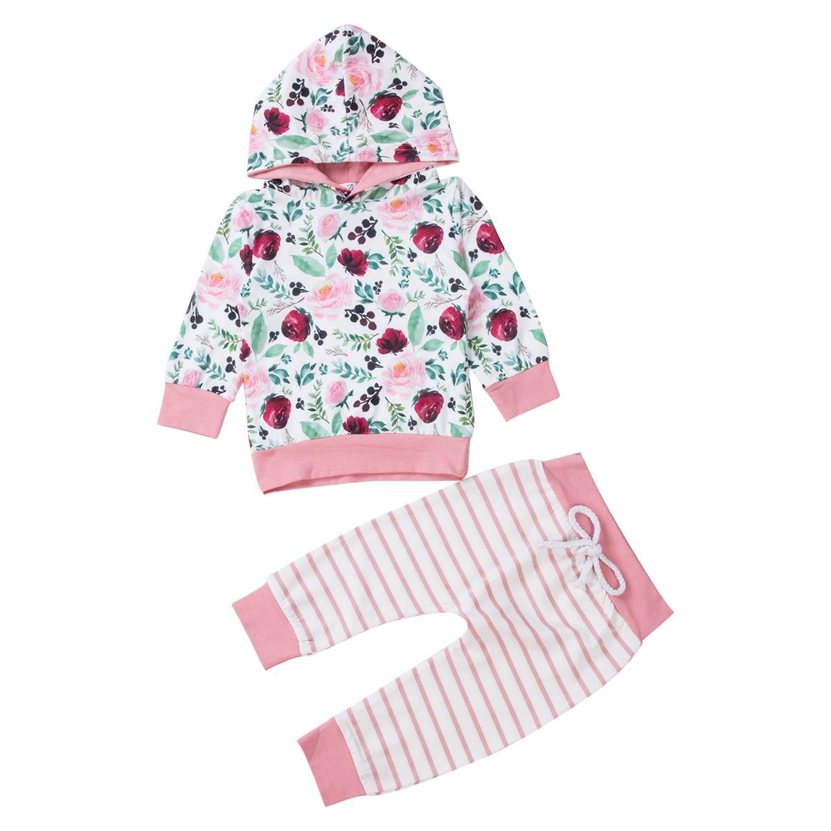 0-24M chico recién nacido bebé Niñas Ropa Floral de manga larga con capucha Top pantalones de rayas invierno primavera ropa