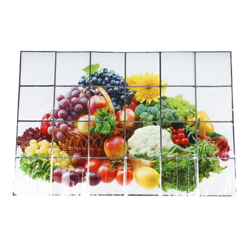 60x90cm Wallpaper Kitchen Decor Anti Oil Self adhesive Tile Wall Paper Sticker Patterns:Fruits