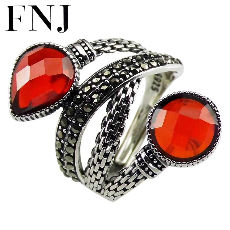 FNJ marcasita Wrap anillos 925 Plata ajustable tamaño puro S925 anillo de plata sólida para mujeres joyería fina corazón redondo circón rojo