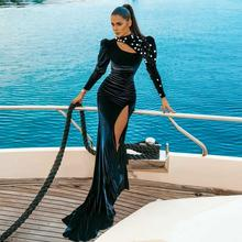 Sexy Black Keyhole High Collar Velvet Prom Dress with Rhinestone Long Sleeves Prom Dress Side Split