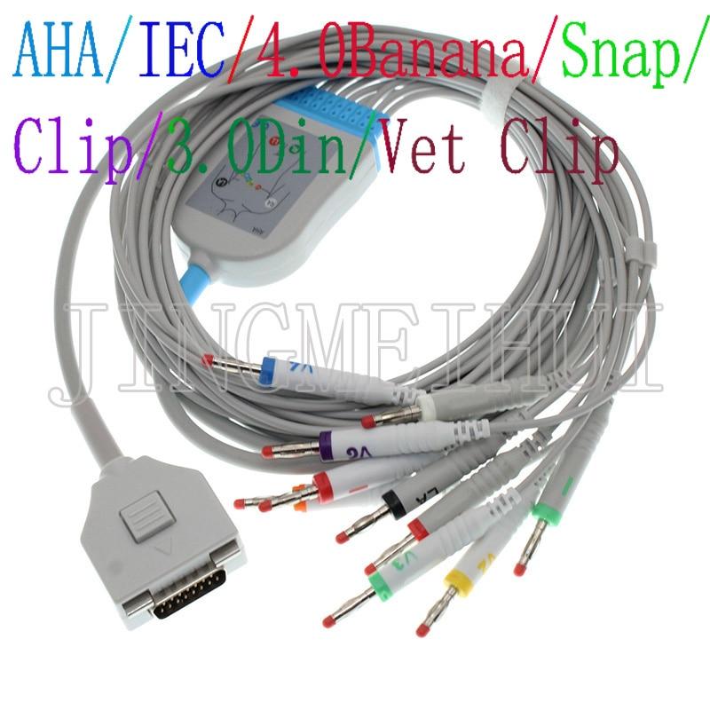 استخدام ل فوكودا ME KP-500 KP-500D و C120 ECG رسم القلب 10-الرصاص cable.3.0DIN/4.0 الموز/المفاجئة/كليب/الحيوان البيطري التمساح كليب leadwire.