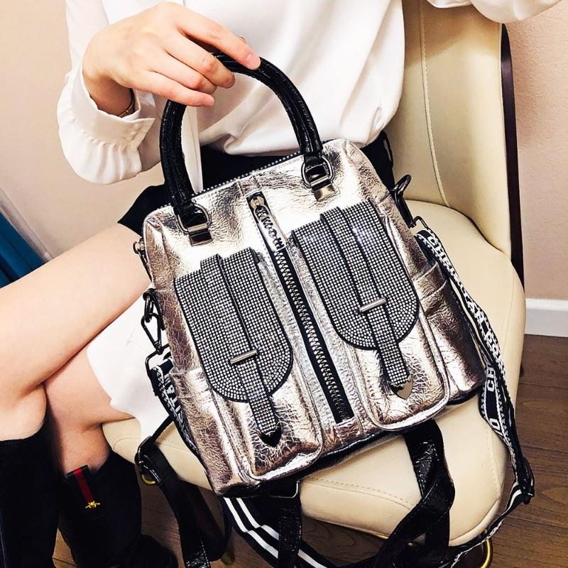 حجر الراين حقائب كتف للنساء الفاخرة مصمم حقيبة يد حمل سعة كبيرة المتسوق Bolsas Crossbody كيس فام