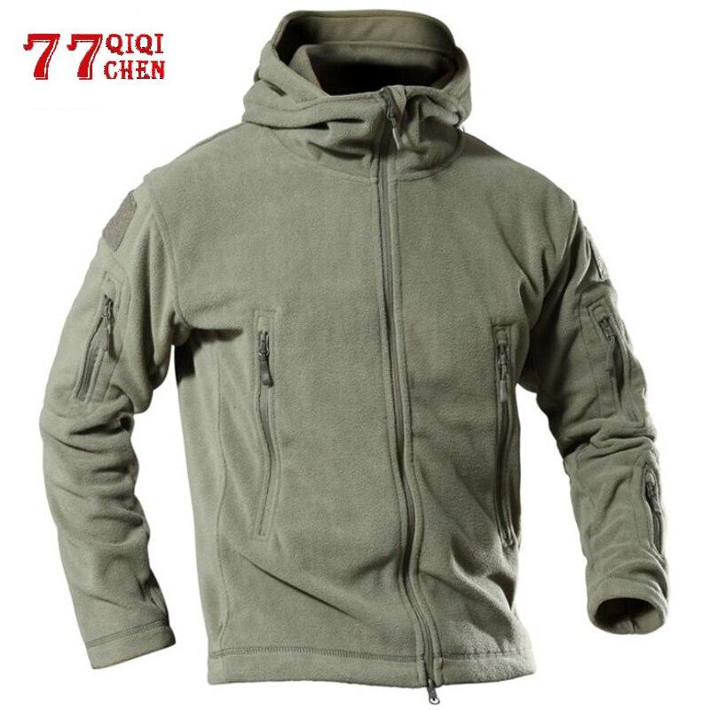 Chaqueta táctica Militar de lana térmica para hombre, Abrigo con capucha cálido para exteriores de EE. UU., chaqueta Softshell para hombre, chaqueta Militar para senderismo, chaquetas militares 4XL