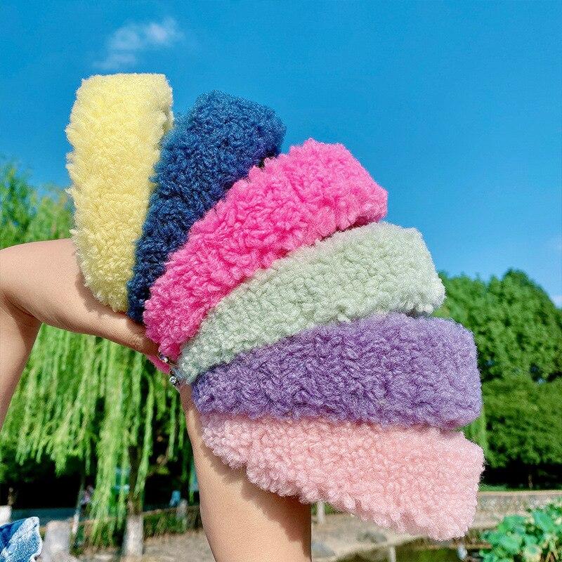 CN cinta del pelo de felpa de cordero de ala ancha cálida para niñas niños Color caramelo Otoño Invierno Cashmere bandas para el pelo accesorios de aro de pelo