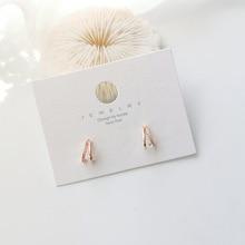 New Korean Classic Cut Arc Stud Earrings for women Sweet Students Elegant Fashion Geometric Gold Color Metal Party Pendiente
