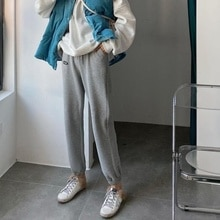Casual Sports Pants Female Spring and Autumn Loose Tappered Harem Gray