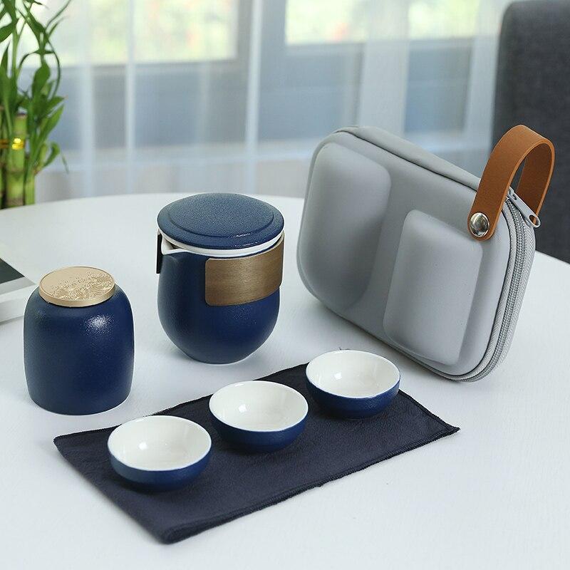 المحمولة سفر Teaware مجموعات السيراميك السفر اليدوية الإبداعية الصينية غرامة العظام Teaware مجموعات Ferramentas المنزل المطبخ DB60CJ