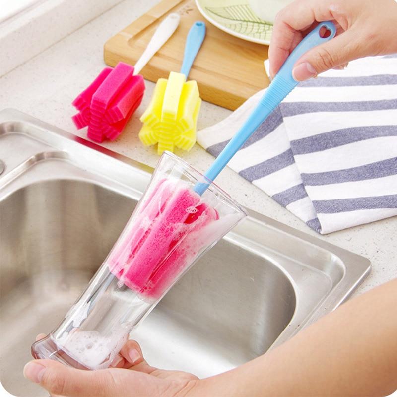 Limpiador de esponja pincel de mango largo vidrio botella de leche tazas herramienta de lavado de cocina pincel Ponge para botella de copa de vino café taza de vidrio de té