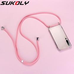 Luxo cordão de silicone caso de telefone para xiaomi mi 10 9 8 t lite pro redmi nota 10 9 8 7 6 5 ultra-fino colar corda capa coque