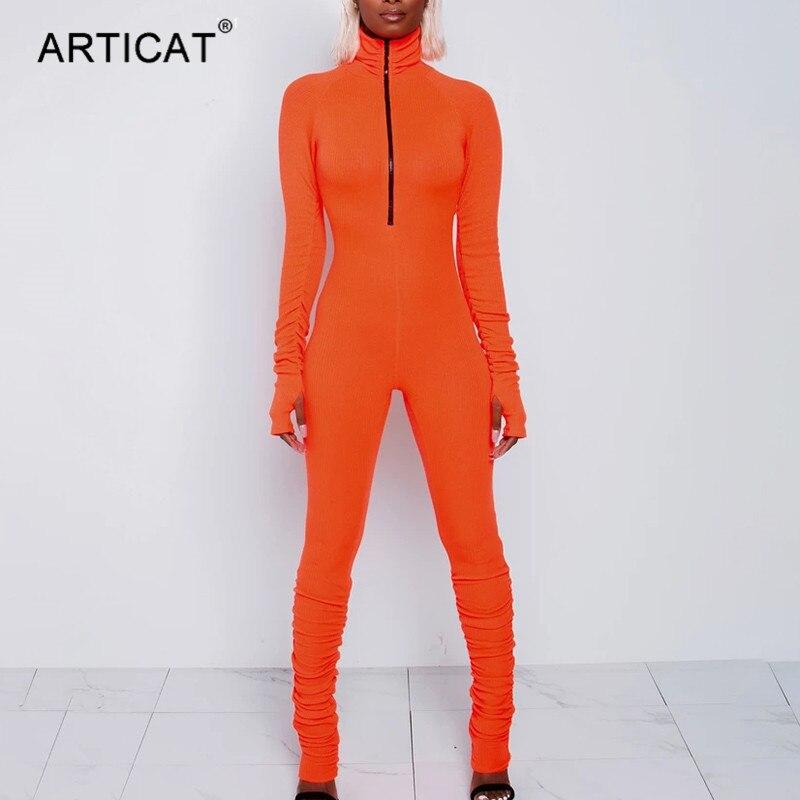 Articat الياقة المدورة سستة نحيل بذلة المرأة طويلة الأكمام قطعة واحدة النيون البرتقال ارتداءها الإناث تشغيل اللياقة البدنية ملابس