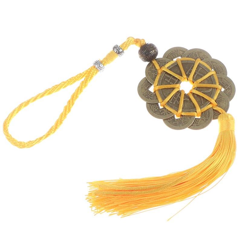Éxito amuleto de la suerte nudo chino tradicional Feng Shui mascota antigua 1/6 moneda percha fortuna y riqueza salud moneda de cobre