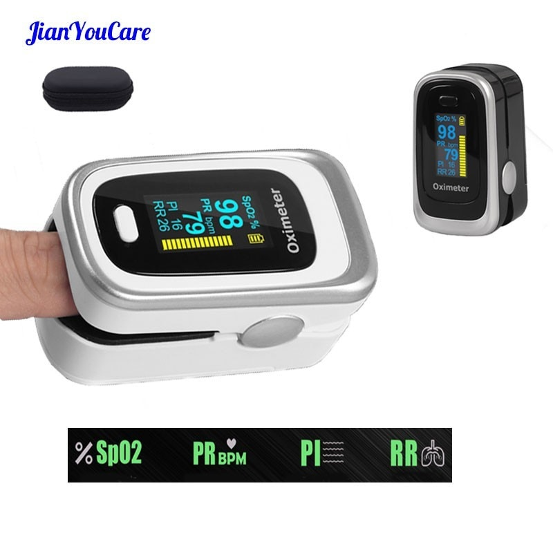 Finger Pulse Fingertip Oled Oximeter SPO2 PR PI RR Blood Oxygen With Respiratory Rate Oximetro De Pulsioximetro Dedo with case
