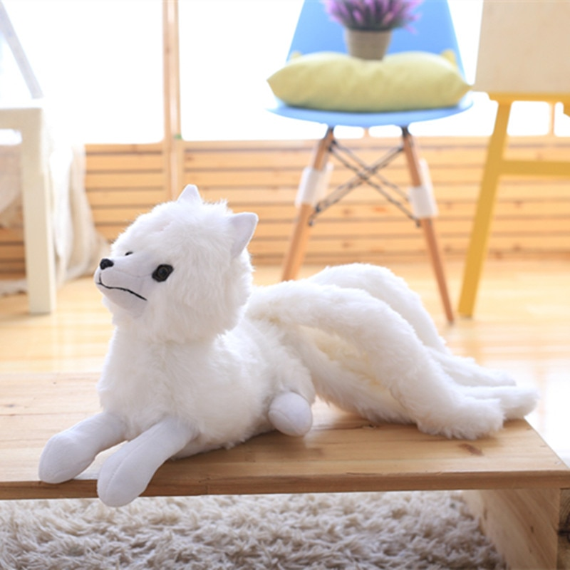 big size cute simulation fox toy resin 1pc 56cm Cute Simulation White Nine-Tailed Fox Plush Toy Stuffed Animal Gumiho Doll Lovely Fox Toy Girls' Gift