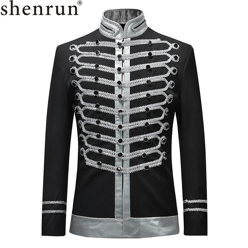 Shenrun 2019 Men Slim Fit Jackets Fashion Military Suit Jacket Blazer Single Breasted Drama Stage Costume Party Prom Plus Size