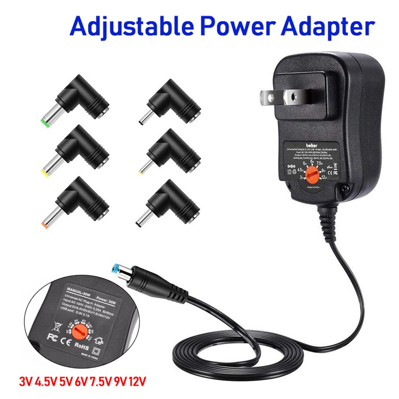Adjustable Power Adapter 3V 4.5V 5V 6V 7.5V 9V 12V 2A 2.5A Universal Switching Power Supply AC DC Adapter For Led Strip Lamp 30W