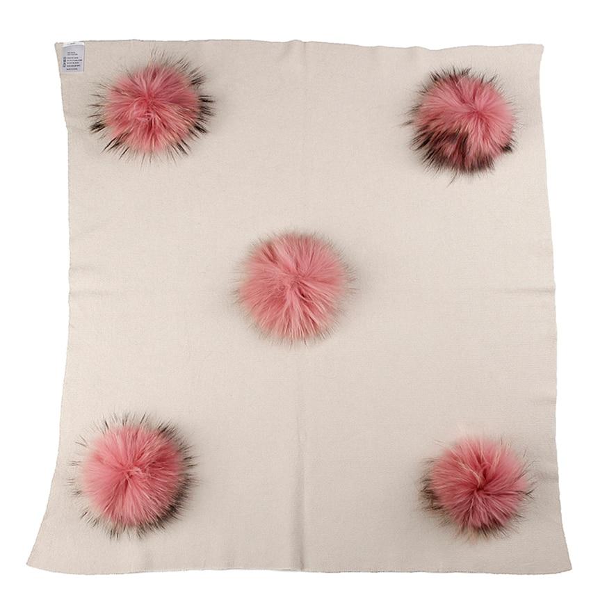 Newborn Kids Baby Warm Wool Swaddling Blanket  With 15cm Real Raccoon Fur Pompom Travel Sleeping Blanket Bedding