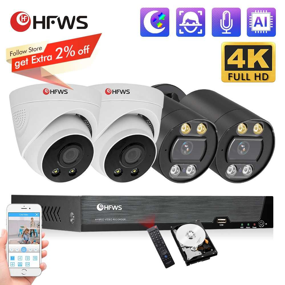 HFWVISION 4K 8MP طقم مراقبة الفيديو Poe كاميرا Nvr مجموعة 8ch نظام الكاميرا الأمنية