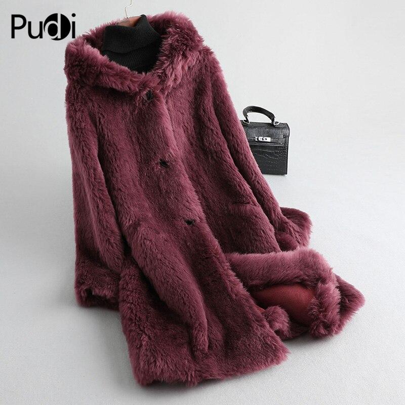 Aorice women's winter real Wool fur warm jacket coat lady Long coat jacket over size parka A19082