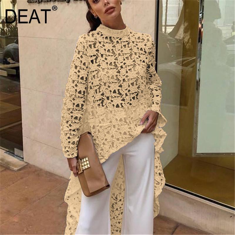 Nueva moda de verano del 2019 de DEAT, Jersey asimétrico de manga larga con cuello redondo y encaje calado, ropa de mujer BF21108XL