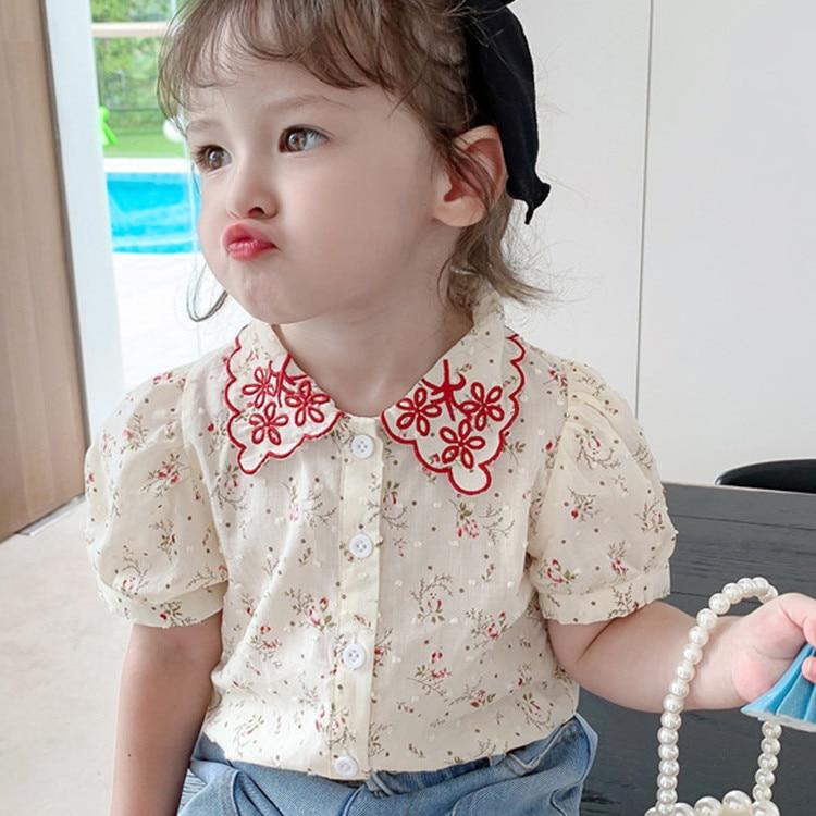 Ropa para niños 2020 novedad de verano Impresión de niña bebé camisa de manga corta niños niñas Cute Doll Collar blusa niño niña Top Tees