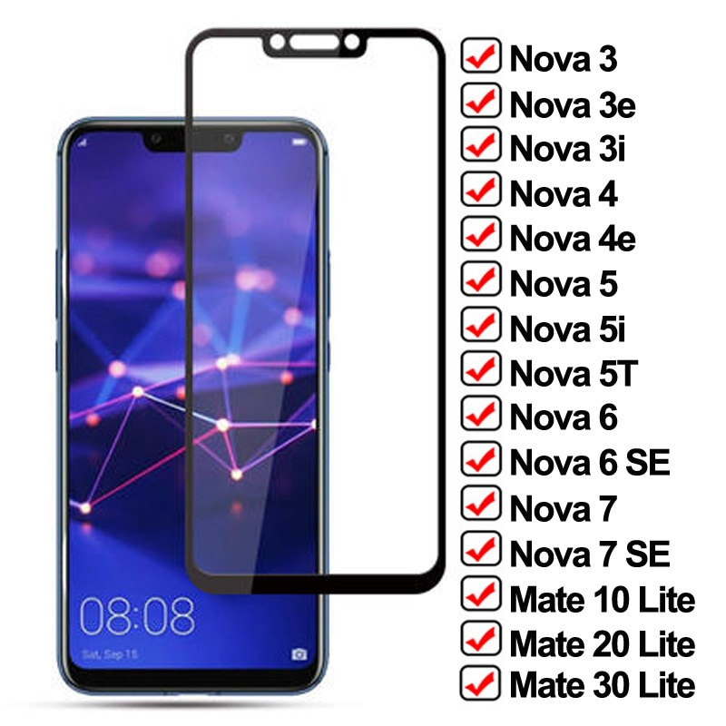 11D Tempered Glass On the For Huawei Nova 7 6 SE 5 5i 5T 4 4E 3 3i 3T Screen Protector Mate 10 20 30