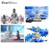Evershine     peinture diamant theme religieux bouddha  Kit de points de croix 5D  broderie complete de strass carres  icones  decoration de la maison  Art Zen