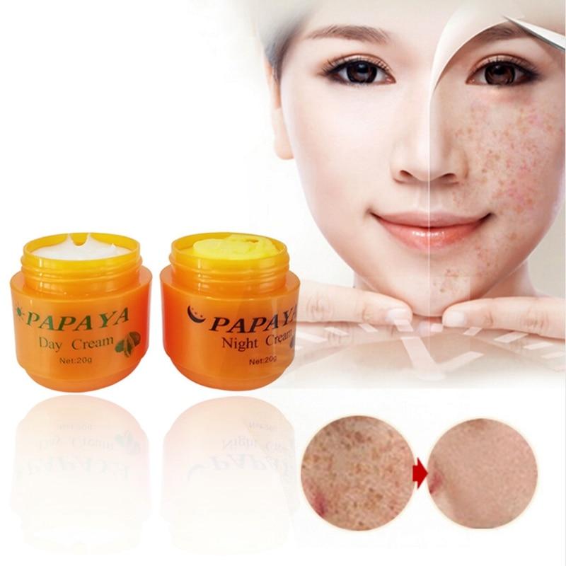 Day Cream + 20g Night Papaya Whitening Face Anti Freckle Improve Dark Skin Refreshing Care 2Pcs/Set