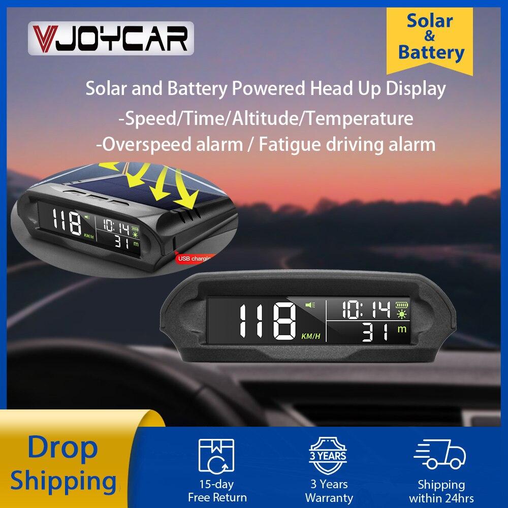 VJOYCAR S98 العالمي سيارة لاسلكية هود عرض رقمي لتحديد المواقع السرعة مع الطاقة الشمسية مشحونة الإفراط في سرعة سيارة تنبيه درجة الحرارة. ارتفاع