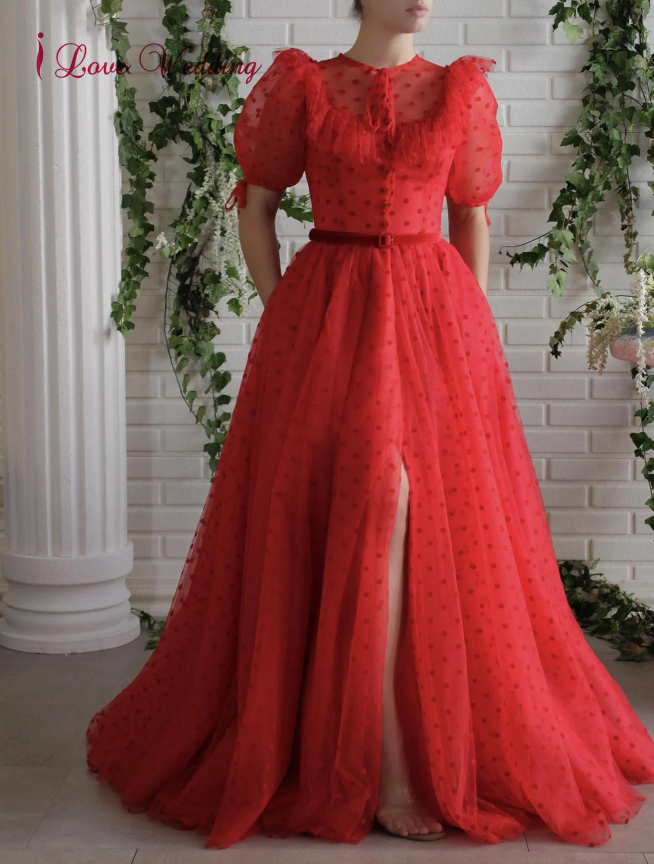 Lindo vestido de baile de formatura vermelho longo mangas curtas feito sob encomenda uma linha até o chão frente fenda formal longo vestido de festa de formatura