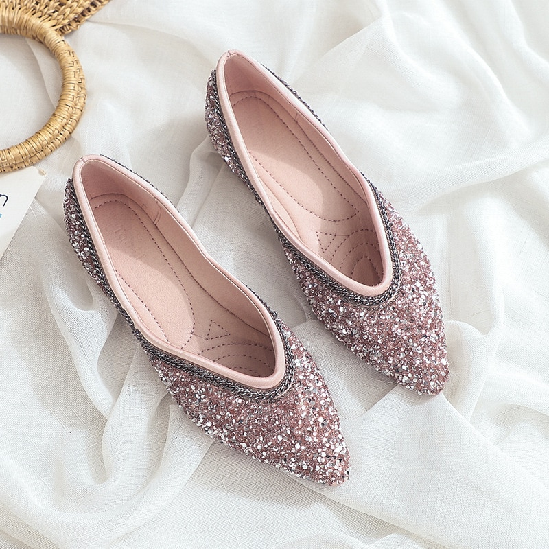 casual women shoes casual slip on flats women shoes new flock pointed toe butterfly knot ballet dancing shoes mujer zapatos w138 Luxury 2020 New Women Shoes Ballet Flats Boat Shoes Bling Pointed Toe Solid Slip-On Zapatos De Mujer Ladies Shoes High Quality