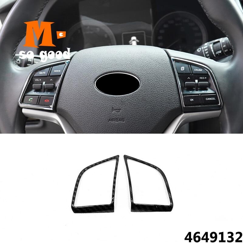 For Hyundai Tucson 2015/16/17/18/19 ABS Carbon fibre Car Steering wheel Button frame Cover Trim Car Styling Accessories 2pcs